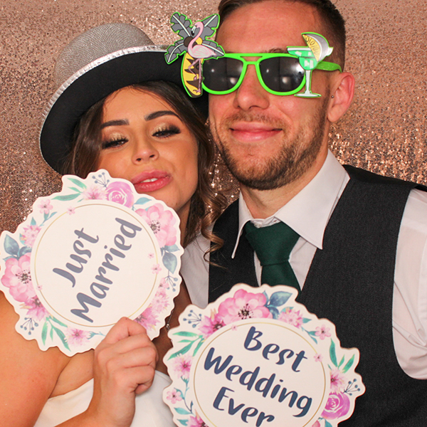 wedding couple in photo booth hire Scotland